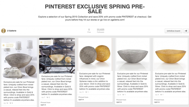 Z Gallerie Pinterest Exclusive Promos