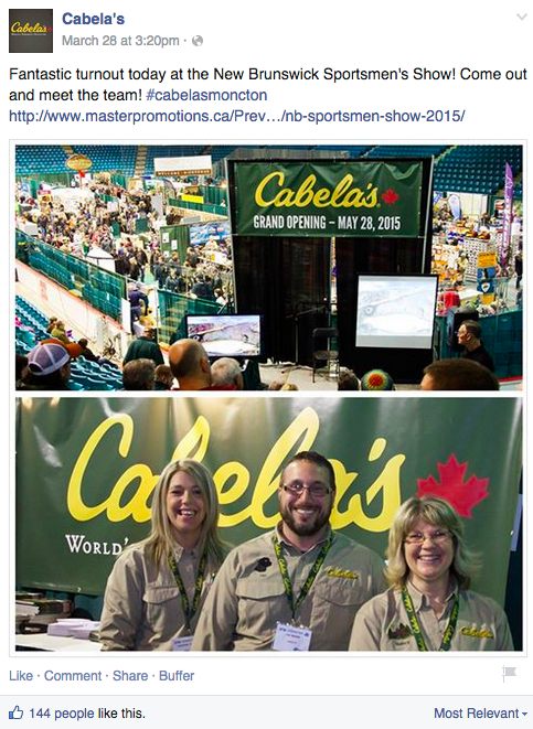 cabela social proof facebook