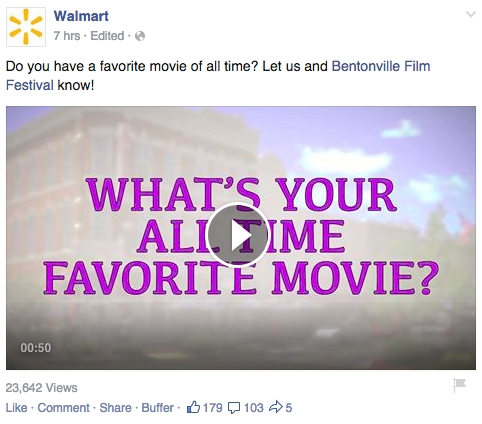 video posts facebook walmart