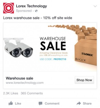 Lorex Retargeting Social Media Ad