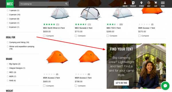 category page tent