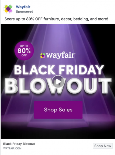 Wayfair Black Friday ad on Instagram