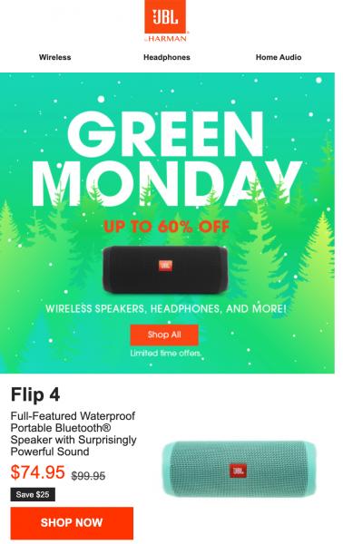 JBL Green Monday Email Design Idea