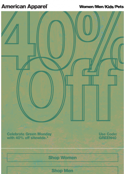 American Apparel Green Monday Email Design