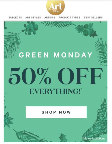 art green monday sale