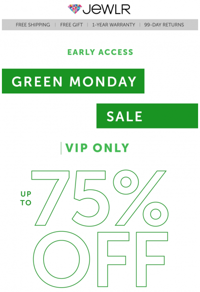 Jewlr Early Access Green Monday Sale