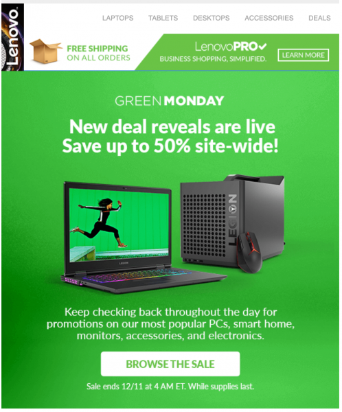 lenovo green monday email design idea