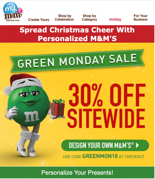mm green monday email design idea
