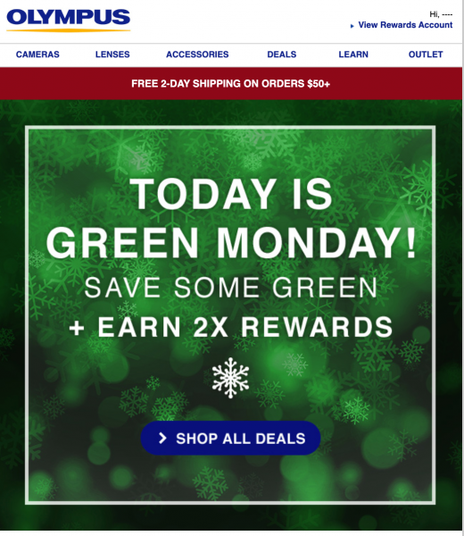 olympus green monday email design