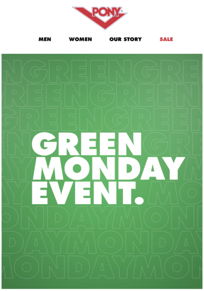 pony green monday email design idea