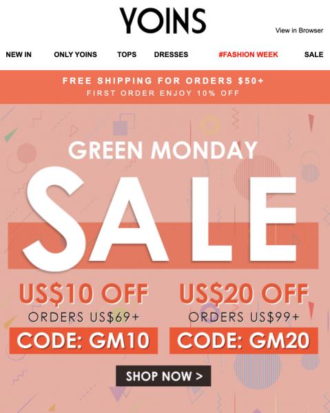 Yoins Green Monday Sale